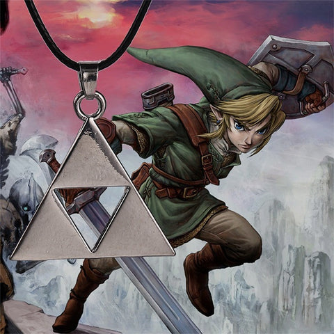 The Legend of Zelda necklace Triforce silver color pendant