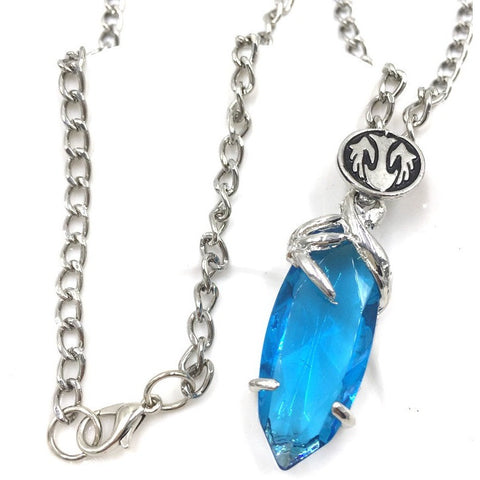 Fantasy Crystal Chronicles Yuna Necklace Blue Crystal Drop Pendant - GamerGift