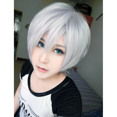 Final Fantasy 12 Inches Light Grey Purple Man Cosplay Wig - loveit-shop