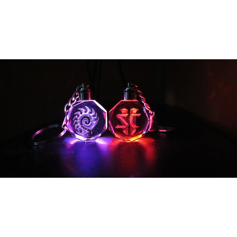 StarCraft 2 Crystal LED light keychain pendant