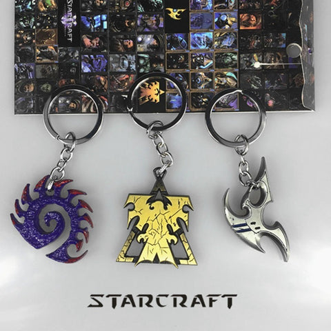 StarCraft Keychain Wings of Liberty Terran Zerg And Protoss Metal Key Chain
