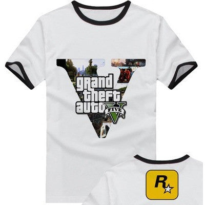 new 2015 free shipping adolescent Grand Theft Auto GTA 5 sitcoms man men male sports short-sleeve T-shirt