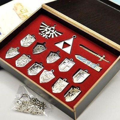 The Legend of Zelda Shield Skyward Sword Blade Weapons Pendants Chain 14 PCS