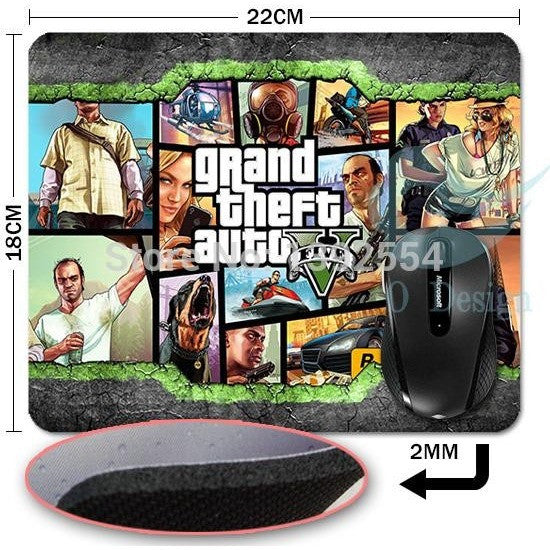 Grand Theft Auto Rectangle MP255 Gaming Non-Slip Rubber Mousepad