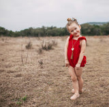 Ready to ship red cotton romper sale