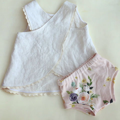 Cream linen cross back top and bloomer