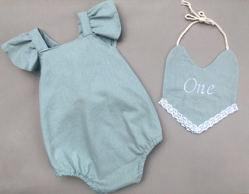 Dusty blue linen blend Romper 12-18