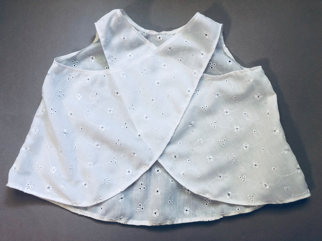White eyelet cross back top