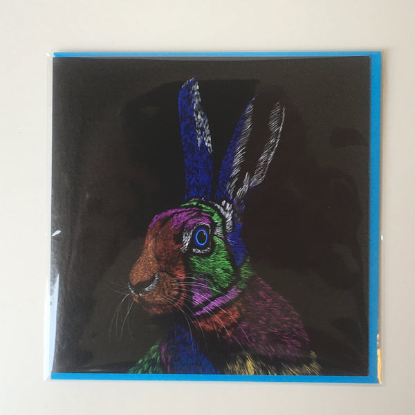 All Ears Hare Vivid 1 Greeting card