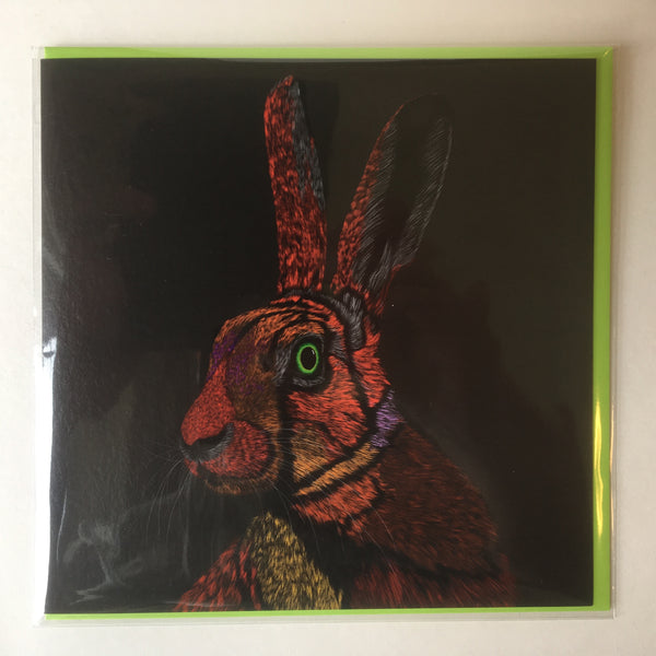 All Ears Hare Vivid 2 Greeting Card