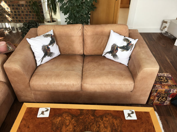 Duelling Pheasants cushion