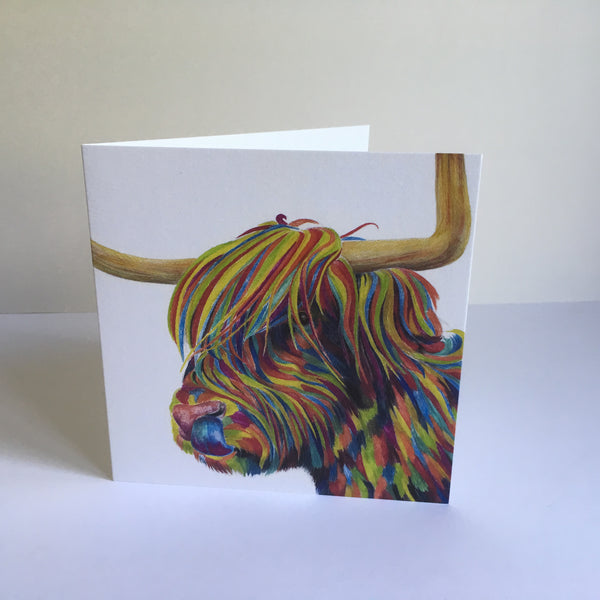 Rude MacDude- Highland Cattle in colour Greetings Card