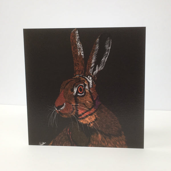 All Ears Brown Hare Greeting card
