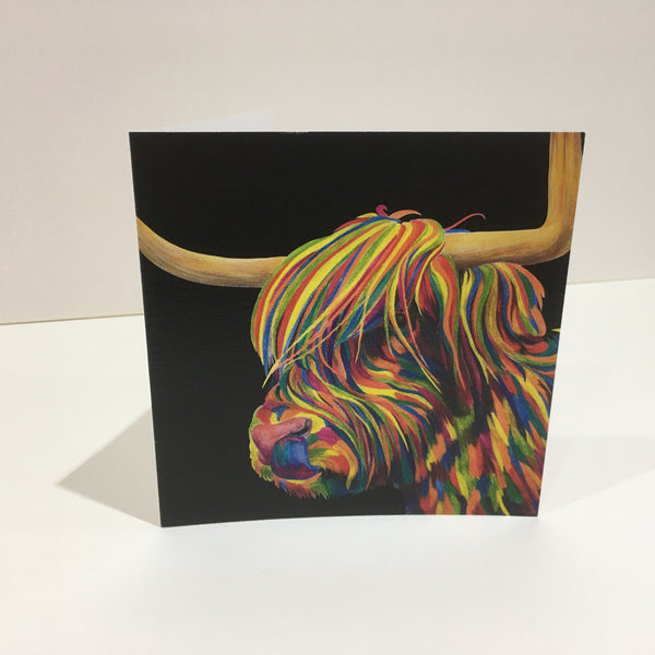 Rude MacDude- Highland Cattle in colour on black Greetings Card