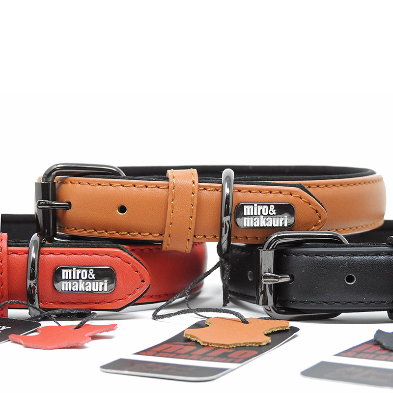 Milford Leather Collars -  Red, Black, Brown