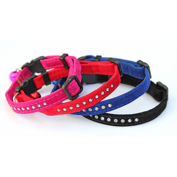 Velvet Diamante Cat Collar- SAFETY CLASP