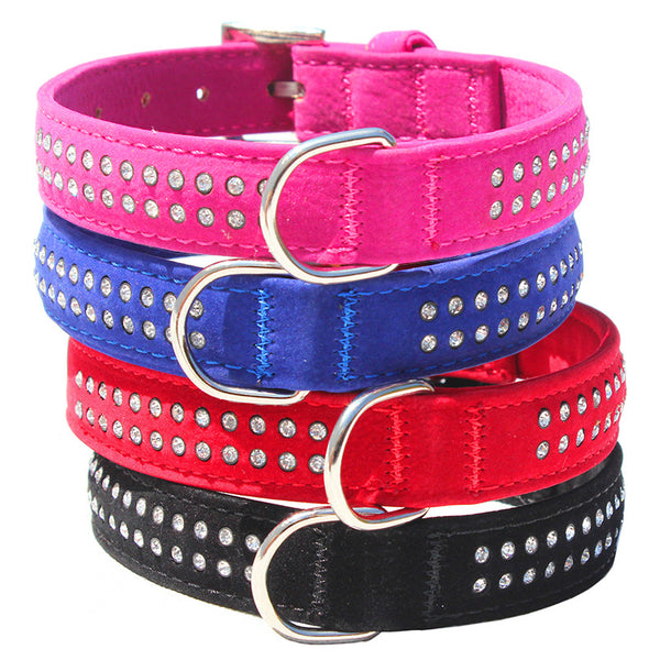 Velvet Diamante Collars-Double Row - end of stock discount