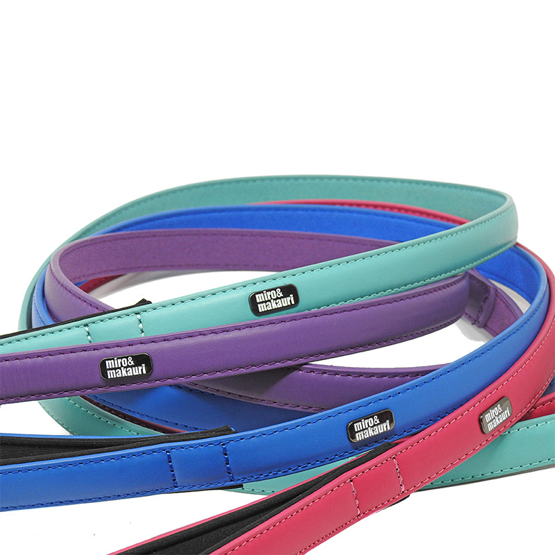 Milford Leather Leads - Purple, Pink, Turquoise, Blue, Yellow - Miro&Makauri
