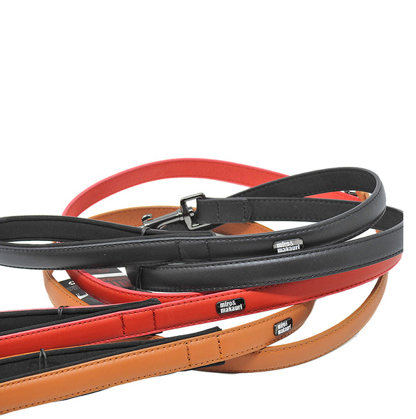 """Milford"" Leather Leads- Black, Red, Brown."