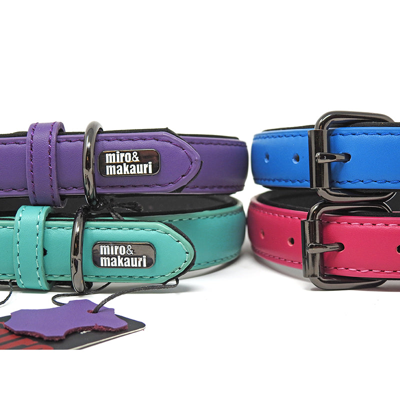 Milford Leather Collars - Pink, Purple, Blue, Turquoise, Yellow - Miro&Makauri