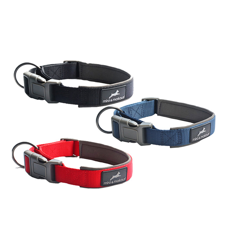 Neoprene Padded Nylon Clasp Collar - Black, Red, Navy. - Miro&Makauri