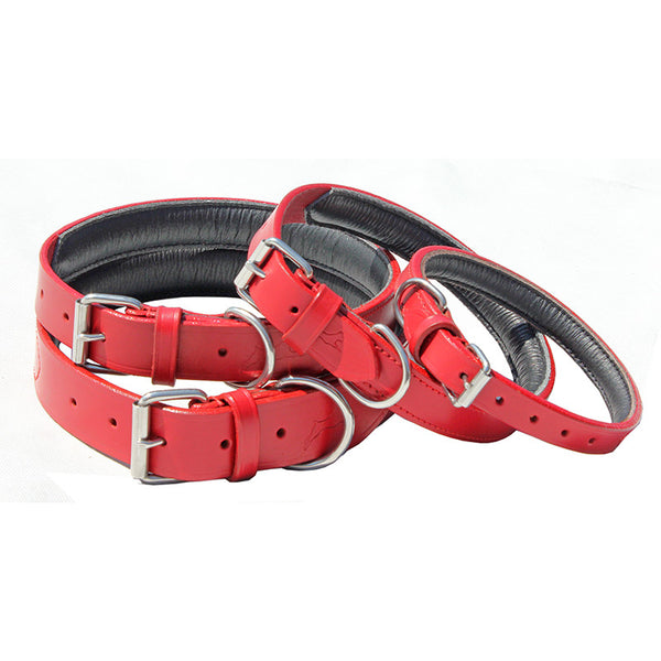 Ultra Soft, Padded Leather Lined Collars - Red