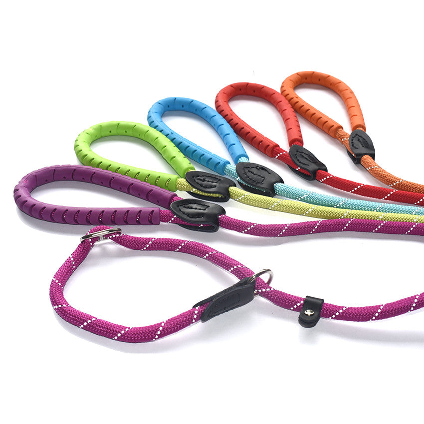 Rubber Handles, Bright Colours. Reflective Thread, Slip Lead with Figure 8 Training Aid.