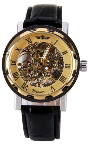 Classic Men's Gold Dial Skeleton Watch