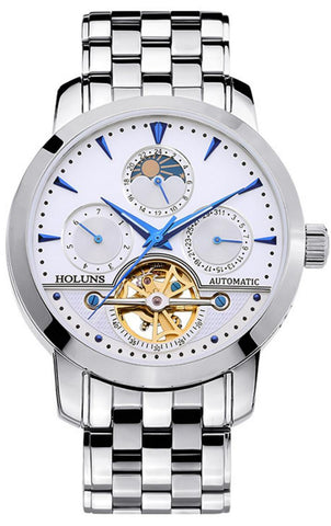 Elegant Men's Self Wind Sapphire Glass Wristwatch