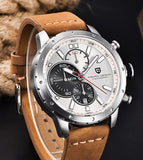 Leather Band Stainless Steel Military Wristwatch