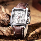 Men's Square Luminous Quartz Watch - Waterproof Leather (Dark Brown)