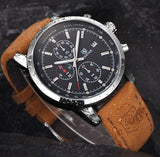 Stainless Steel Chronograph Leather Sports Watch