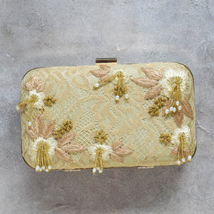 Gold Lace Flower Clutch