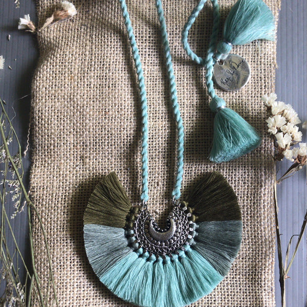 Green Ombre & Silver Tassel Necklace