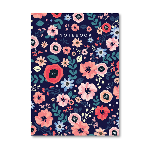 Midnight Blue Floral Notebook