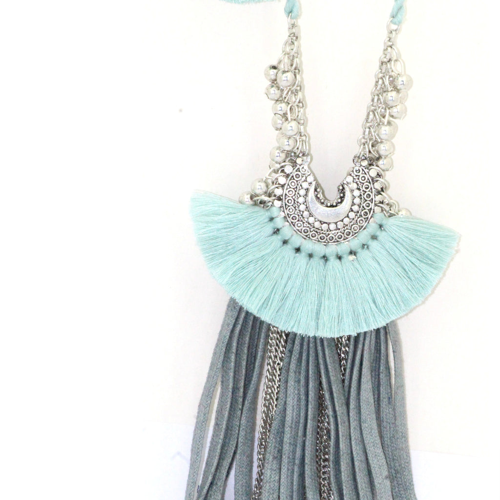 Pastel Silver Tassel Necklace
