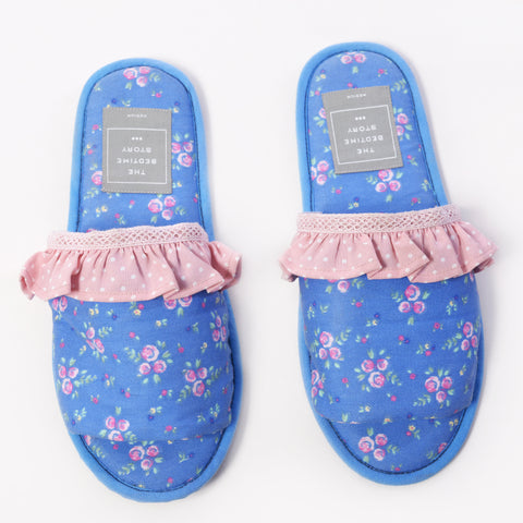 Cobalt Blue Floral Slippers