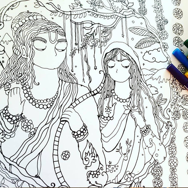 Gods & Goddesses Of India Adult Colouring Book