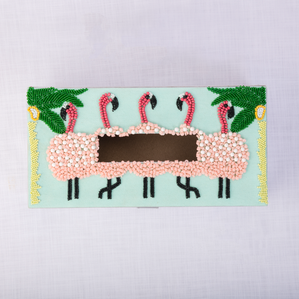 Flamingo Embellished tissue box