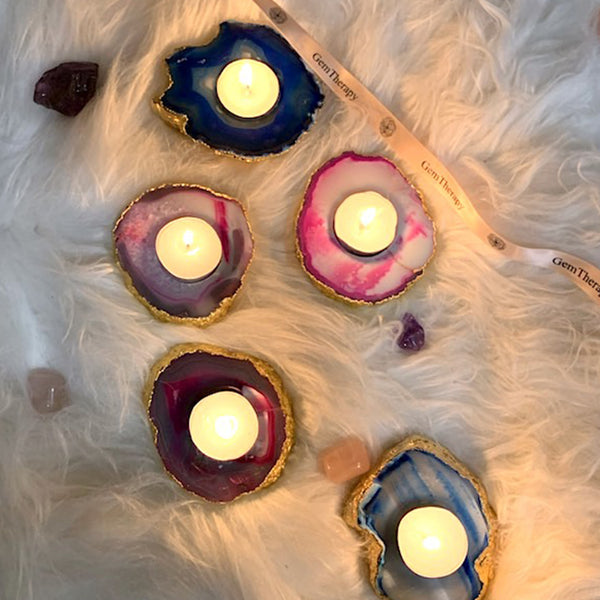 Agate Gemstone Tea light Candle