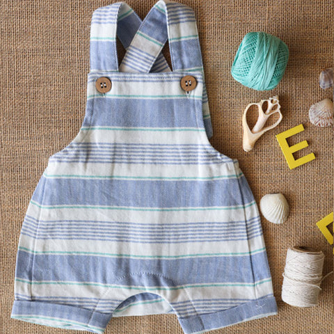 Blue & White Stripe Overalls