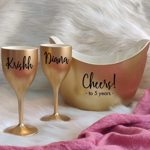 Wine Glass + Chilling Bucket Gift Set - Customised