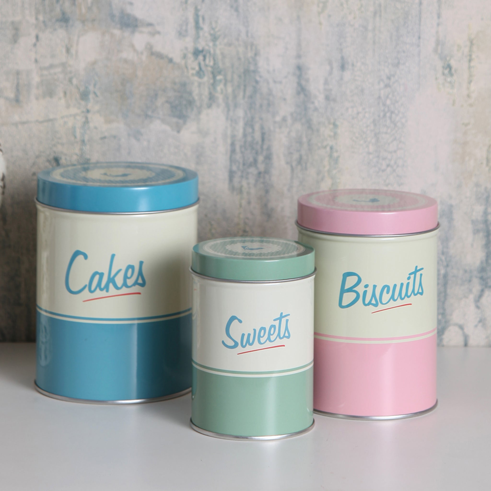 pastel biscuit & sweet storage tins