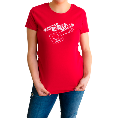 NEW! iSKI Ladies fitted T-Shirt - SKIING NEVER STOPS