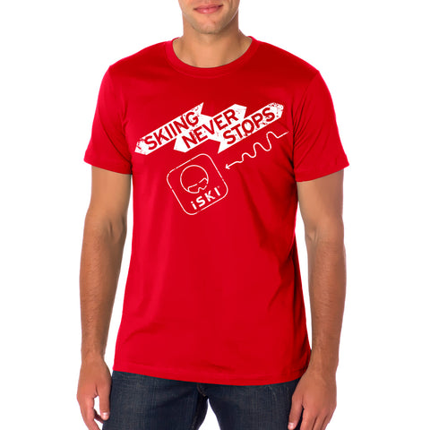 NEW! iSKI Men fitted T-Shirt - SKIING NEVER STOPS