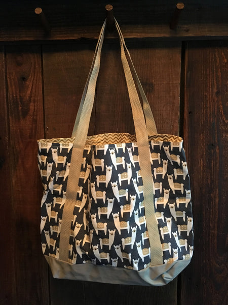 Canvas Alpaca/Sheep Print Tote Bag