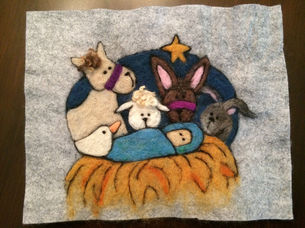 Wool Painting- Nativity Creche