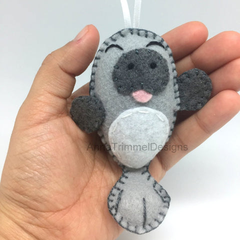 manatee felt ornament