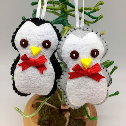 penguin felt christmas ornament