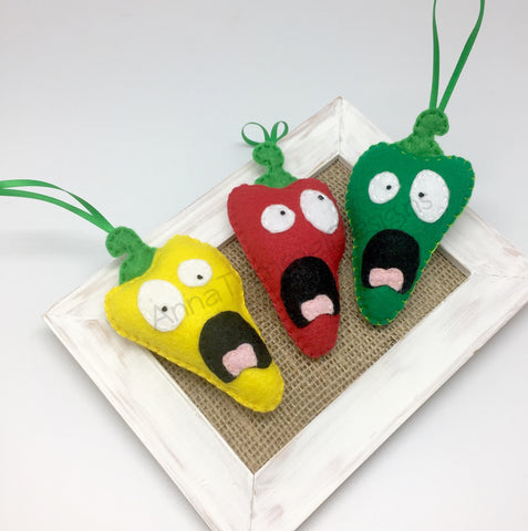 Screaming Bell Peppers ornaments in felt funny gift idea